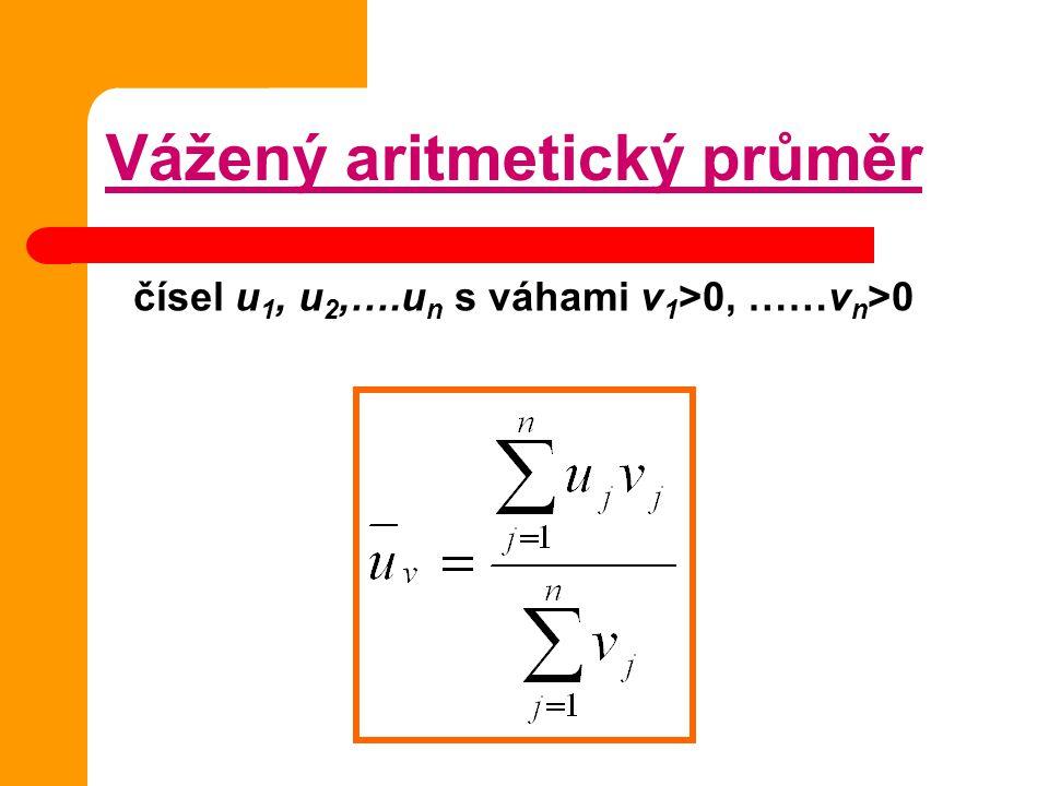 čísel u1, u2,….un s váhami v1>0, ……vn>0