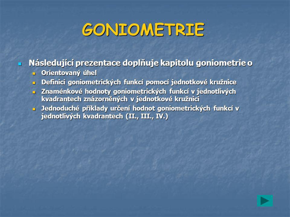 GONIOMETRIE Následující prezentace doplňuje kapitolu goniometrie o