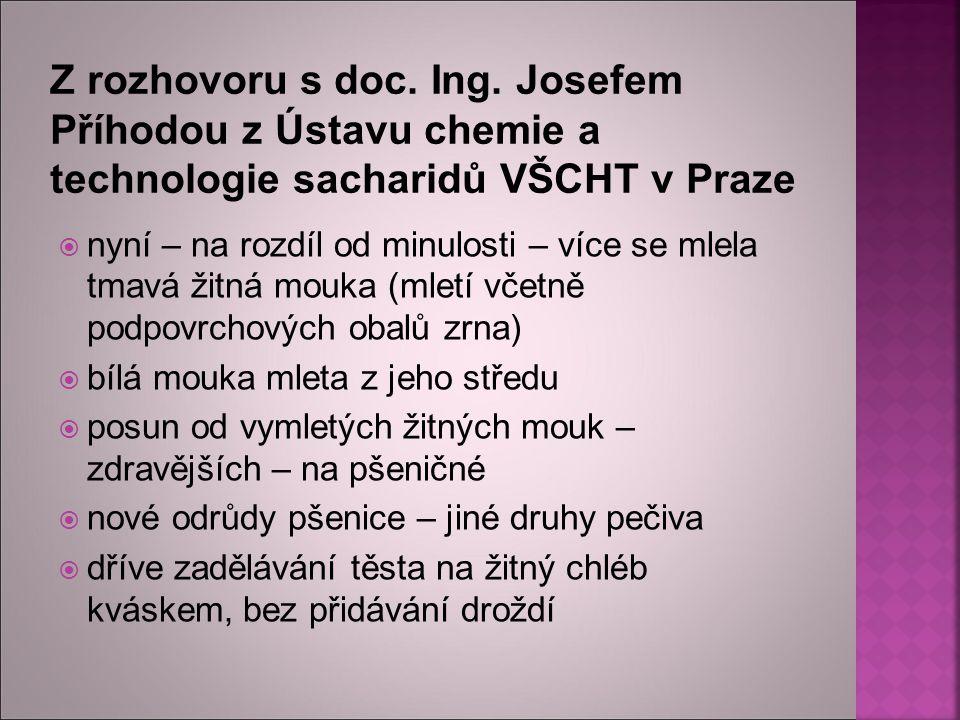 Z rozhovoru s doc. Ing. Josefem Příhodou z Ústavu chemie a technologie sacharidů VŠCHT v Praze
