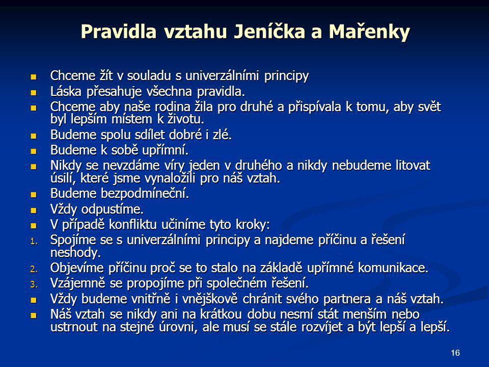 Pravidla vztahu Jeníčka a Mařenky
