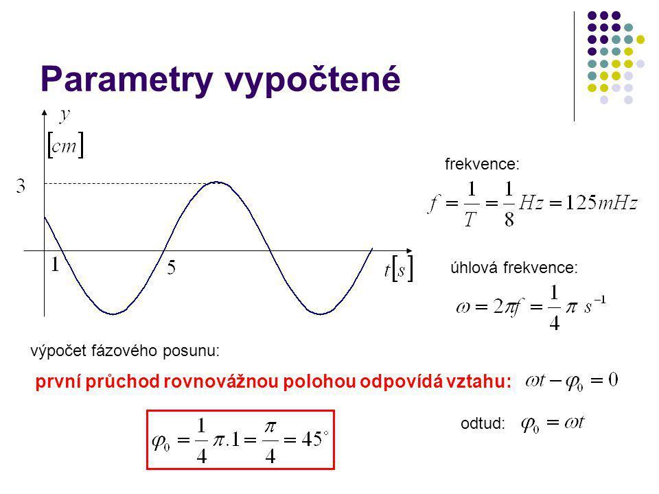Parametry vypočtené první průchod rovnovážnou polohou odpovídá vztahu: