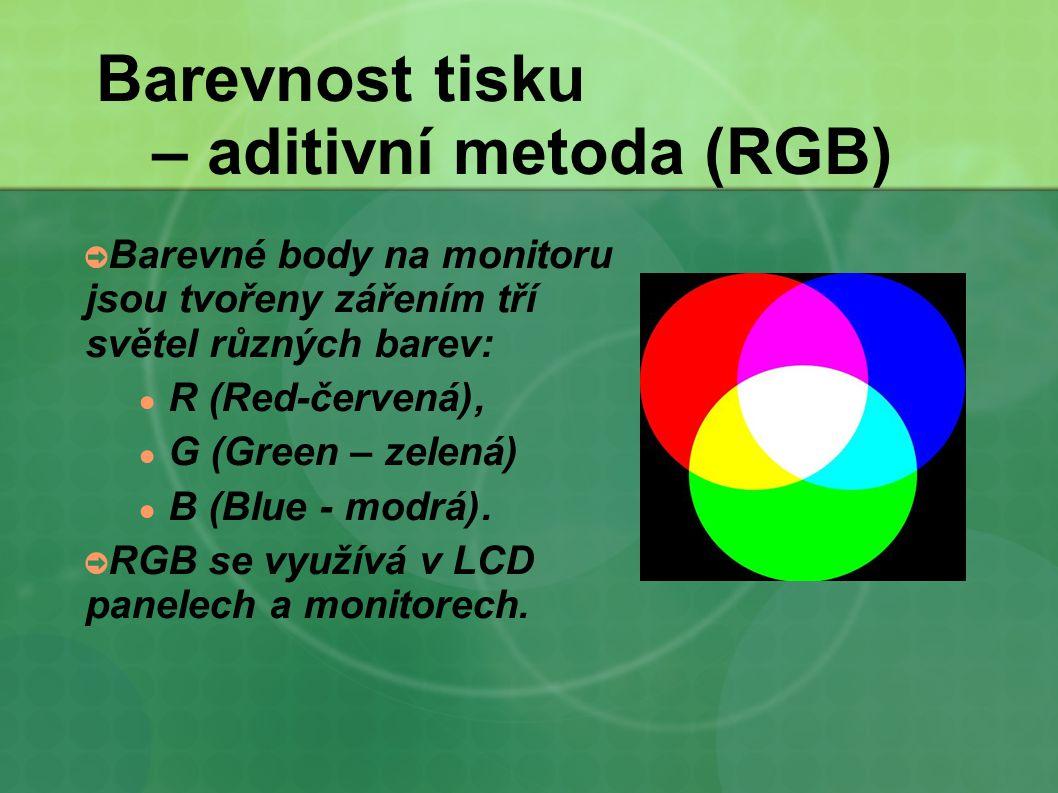 Barevnost tisku – aditivní metoda (RGB)