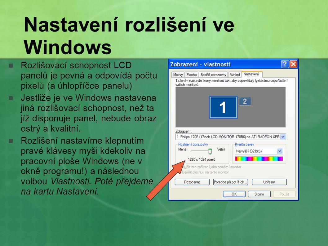Nastavení rozlišení ve Windows