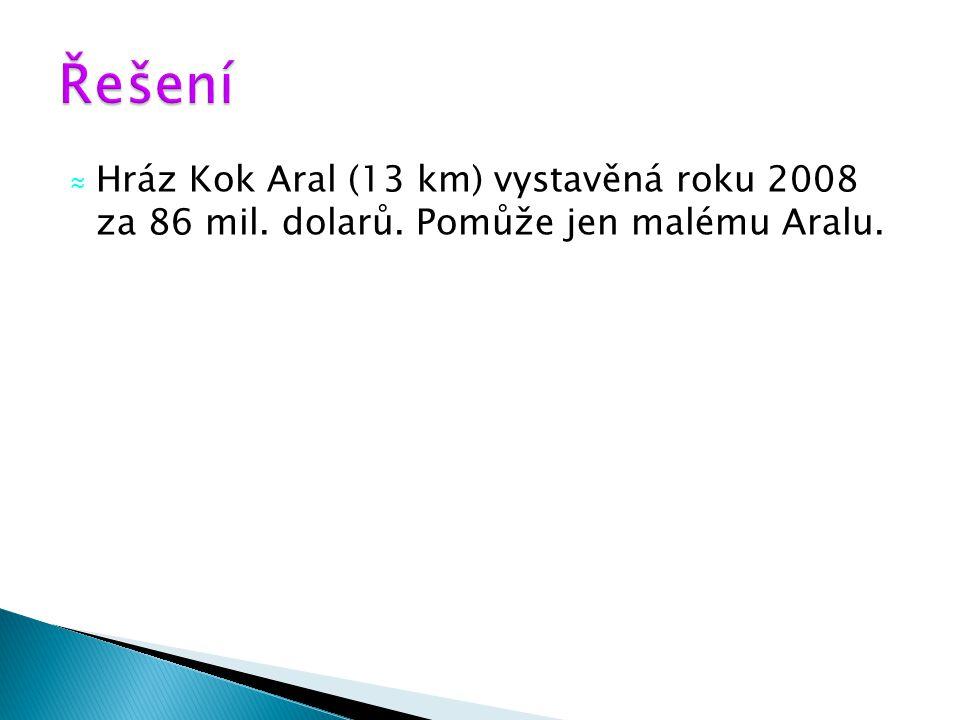 Řešení Hráz Kok Aral (13 km) vystavěná roku 2008 za 86 mil. dolarů. Pomůže jen malému Aralu.