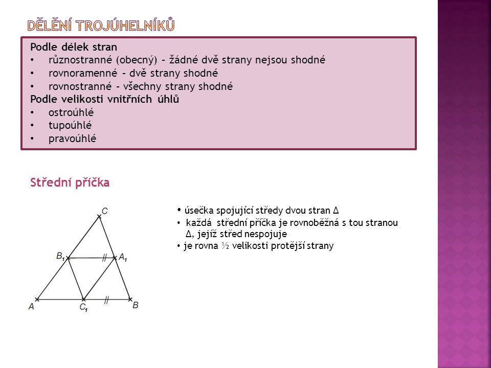 Dělění trojúhelníků Střední příčka