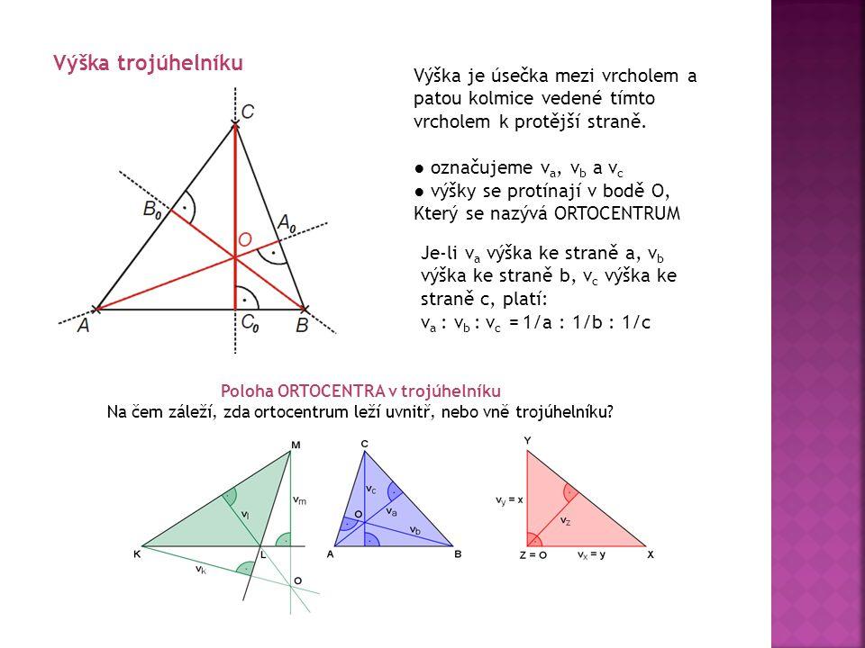 Poloha ORTOCENTRA v trojúhelníku