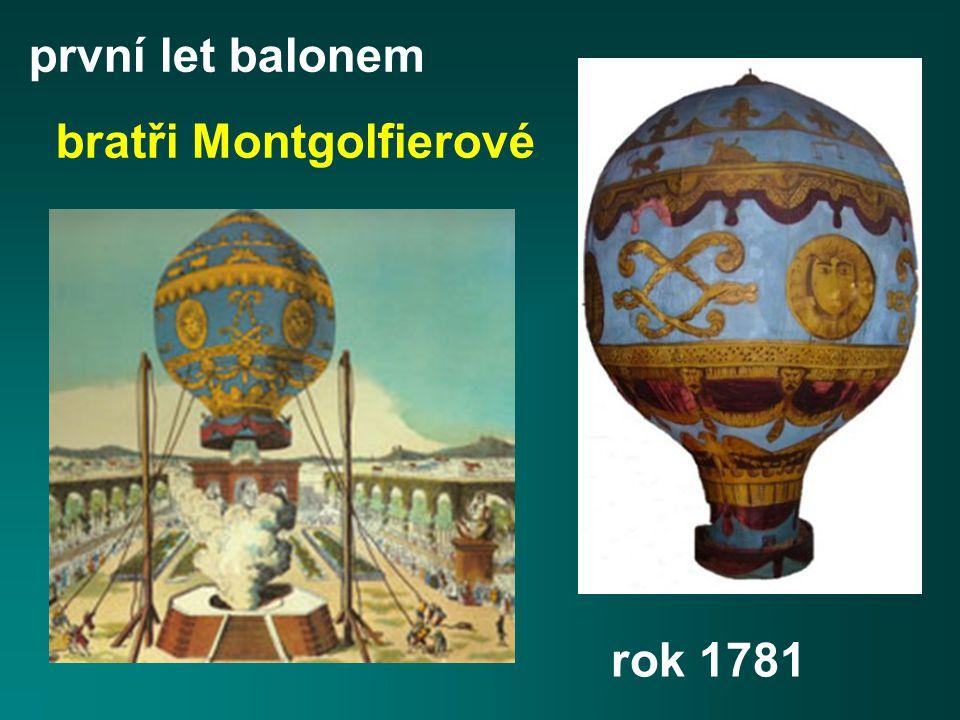 první let balonem bratři Montgolfierové rok 1781