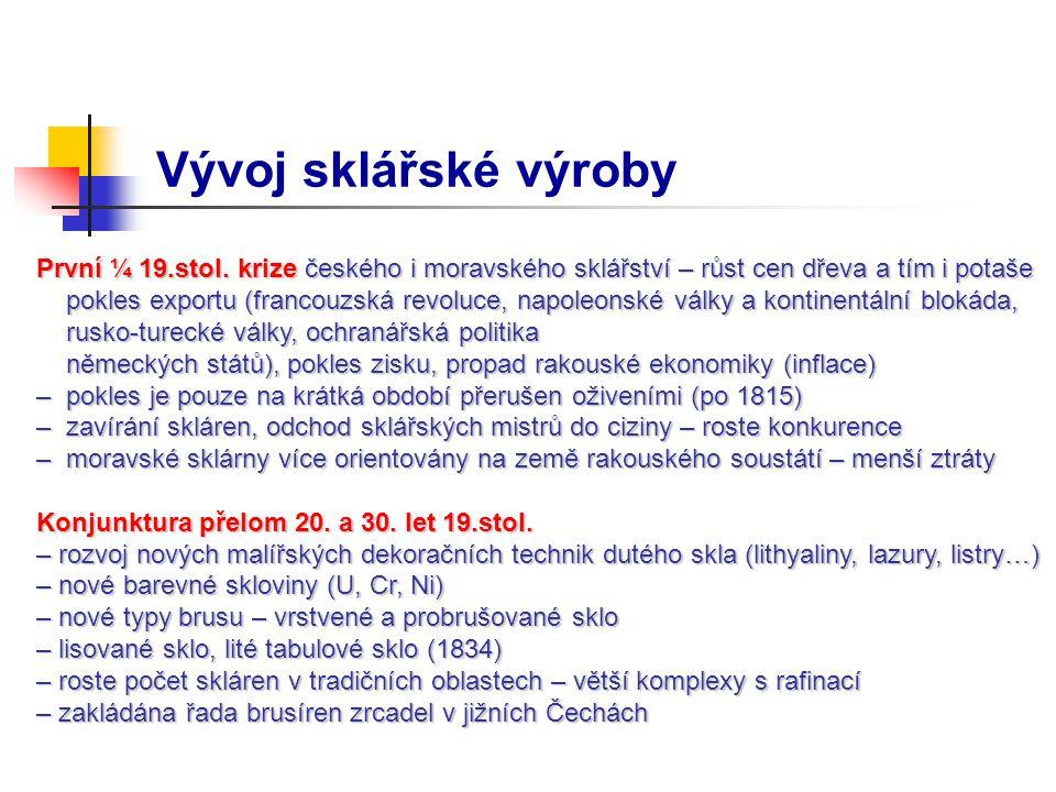 Vývoj sklářské výroby První ¼ 19.stol. krize českého i moravského sklářství – růst cen dřeva a tím i potaše.