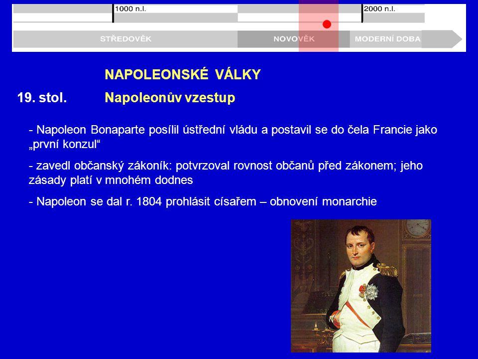 NAPOLEONSKÉ VÁLKY 19. stol. Napoleonův vzestup
