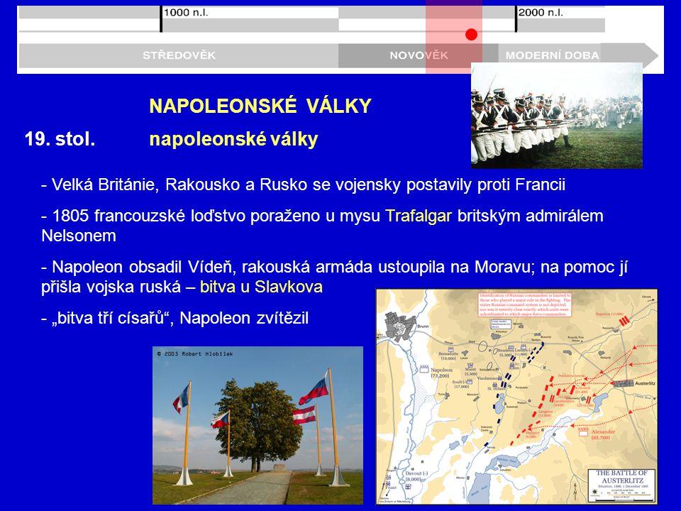 NAPOLEONSKÉ VÁLKY 19. stol. napoleonské války