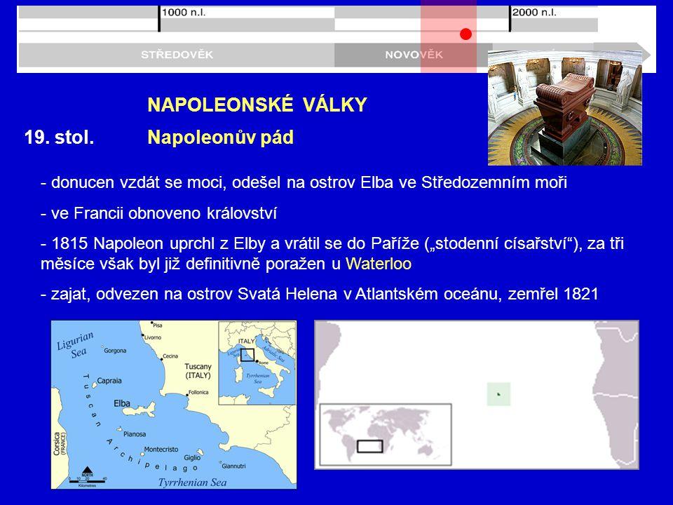 NAPOLEONSKÉ VÁLKY 19. stol. Napoleonův pád