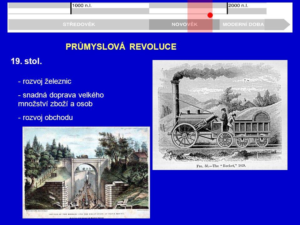 PRŮMYSLOVÁ REVOLUCE 19. stol. - rozvoj železnic