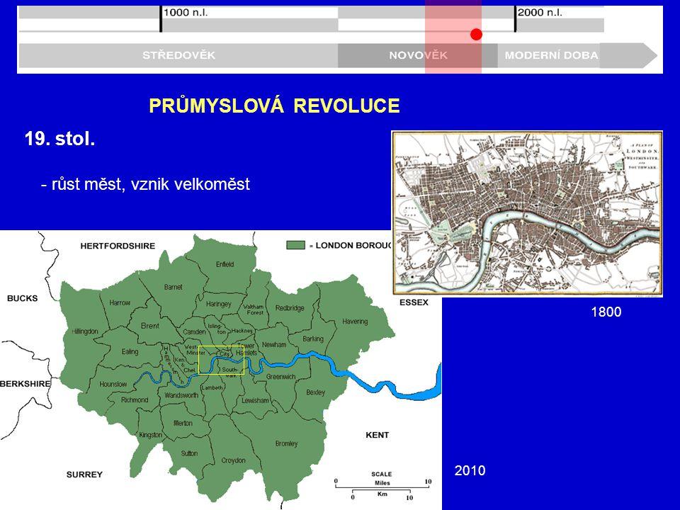 PRŮMYSLOVÁ REVOLUCE 19. stol. - růst měst, vznik velkoměst 1800 2010