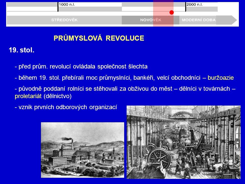 PRŮMYSLOVÁ REVOLUCE 19. stol.