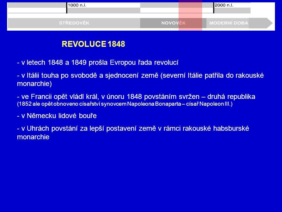 REVOLUCE 1848 - v letech 1848 a 1849 prošla Evropou řada revolucí