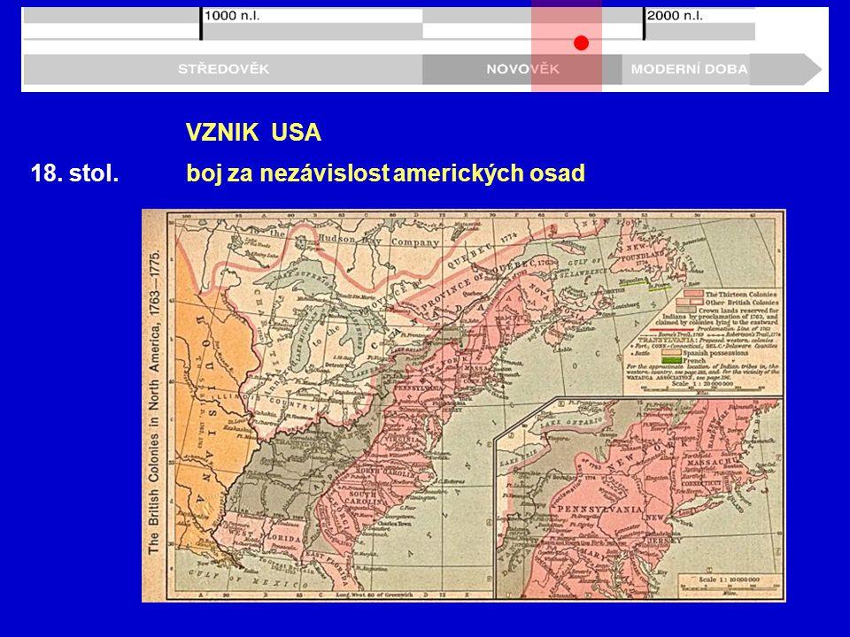 VZNIK USA 18. stol. boj za nezávislost amerických osad