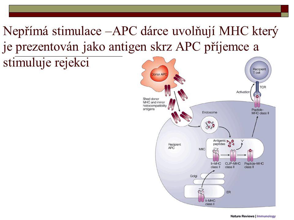 Nepřímá stimulace –APC dárce uvolňují MHC který je prezentován jako antigen skrz APC příjemce a stimuluje rejekci
