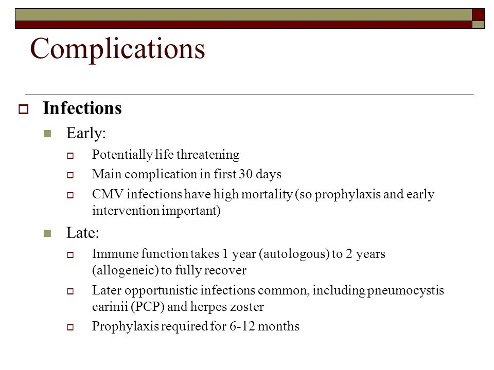 Complications Infections Early: Late: Potentially life threatening
