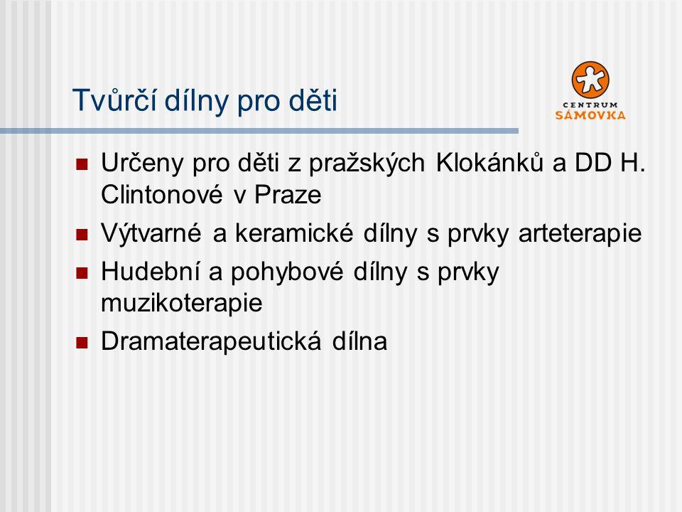 Tvůrčí dílny pro děti Určeny pro děti z pražských Klokánků a DD H. Clintonové v Praze. Výtvarné a keramické dílny s prvky arteterapie.