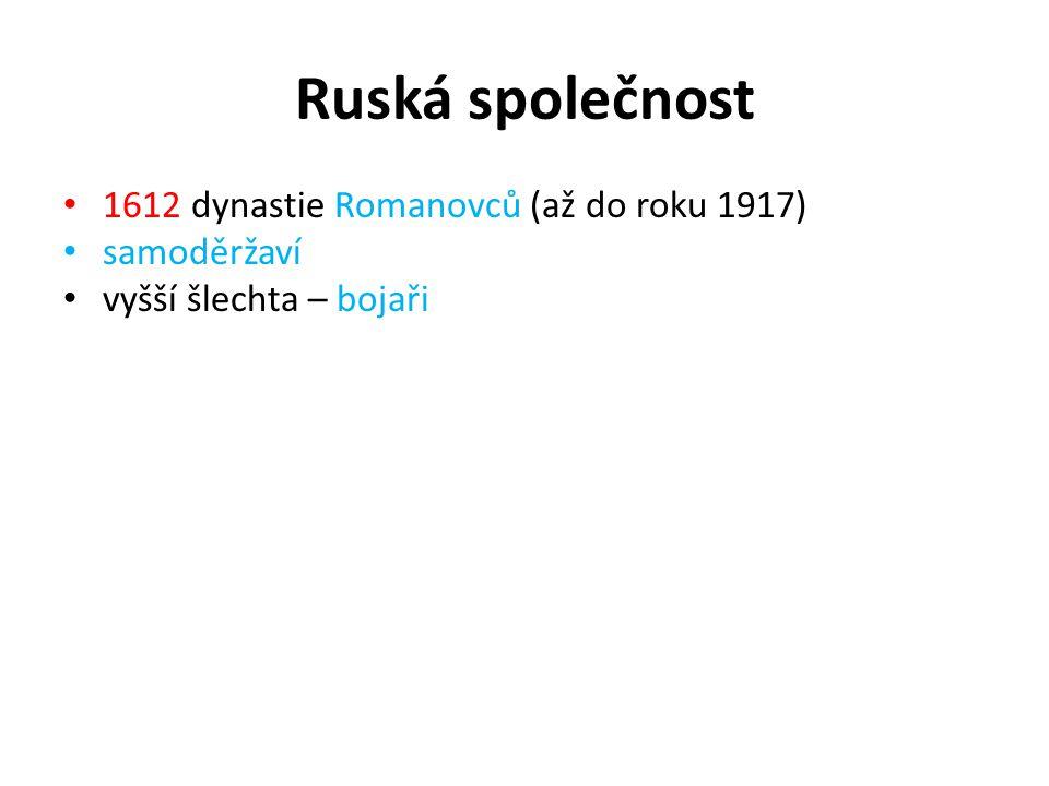 Ruská společnost 1612 dynastie Romanovců (až do roku 1917) samoděržaví