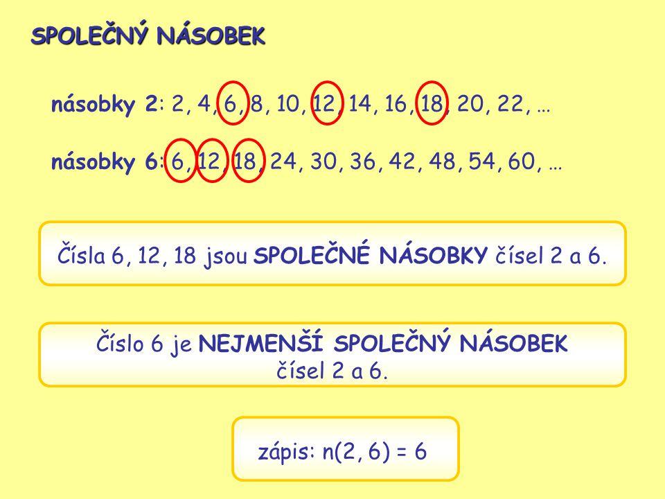 Čísla 6, 12, 18 jsou SPOLEČNÉ NÁSOBKY čísel 2 a 6.