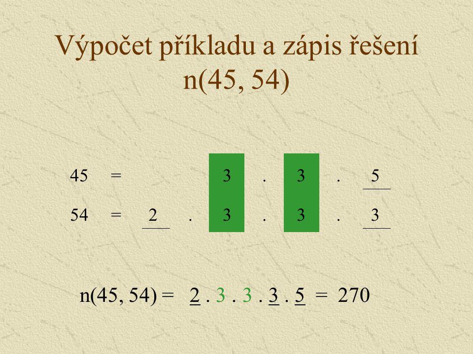 Výpočet příkladu a zápis řešení n(45, 54)