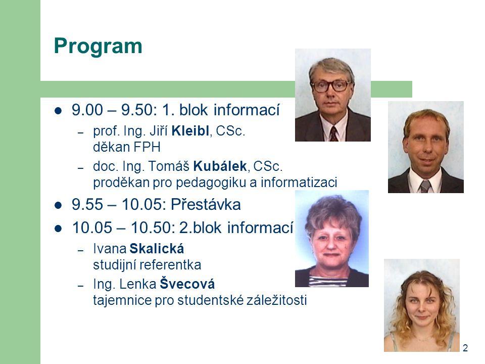 Program 9.00 – 9.50: 1. blok informací 9.55 – 10.05: Přestávka