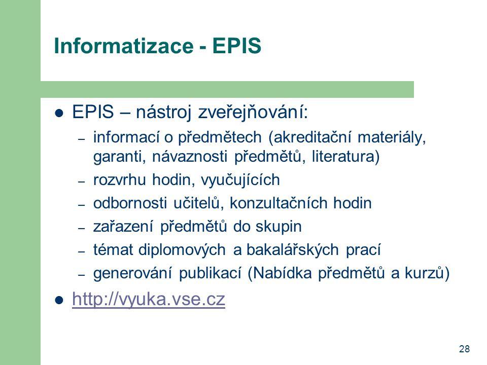 Informatizace - EPIS EPIS – nástroj zveřejňování: http://vyuka.vse.cz