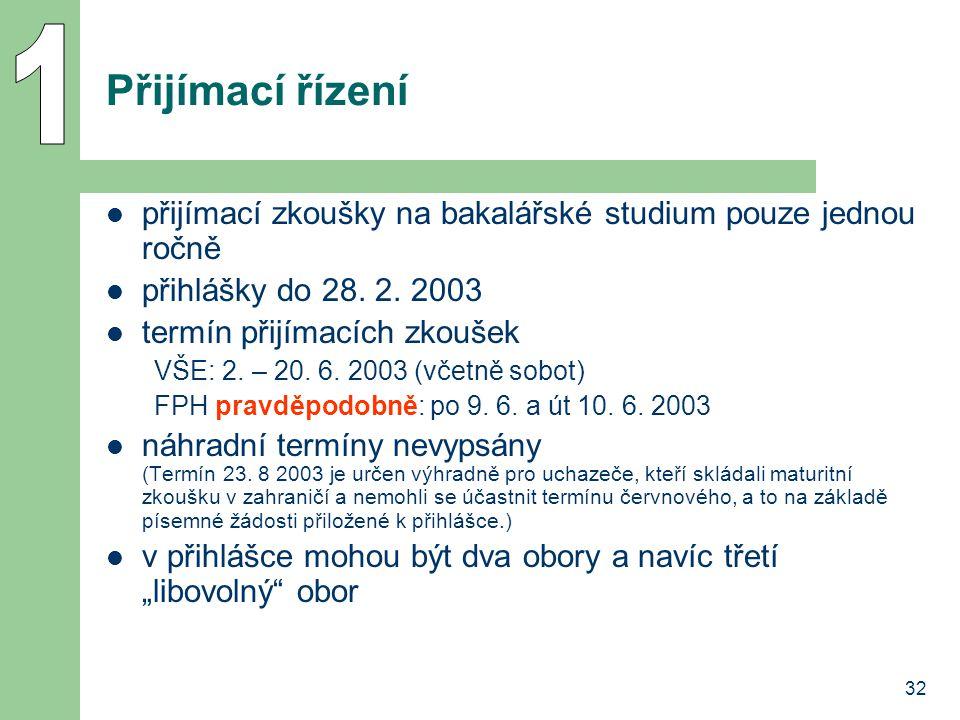 1 Přijímací řízení. přijímací zkoušky na bakalářské studium pouze jednou ročně. přihlášky do 28. 2. 2003.