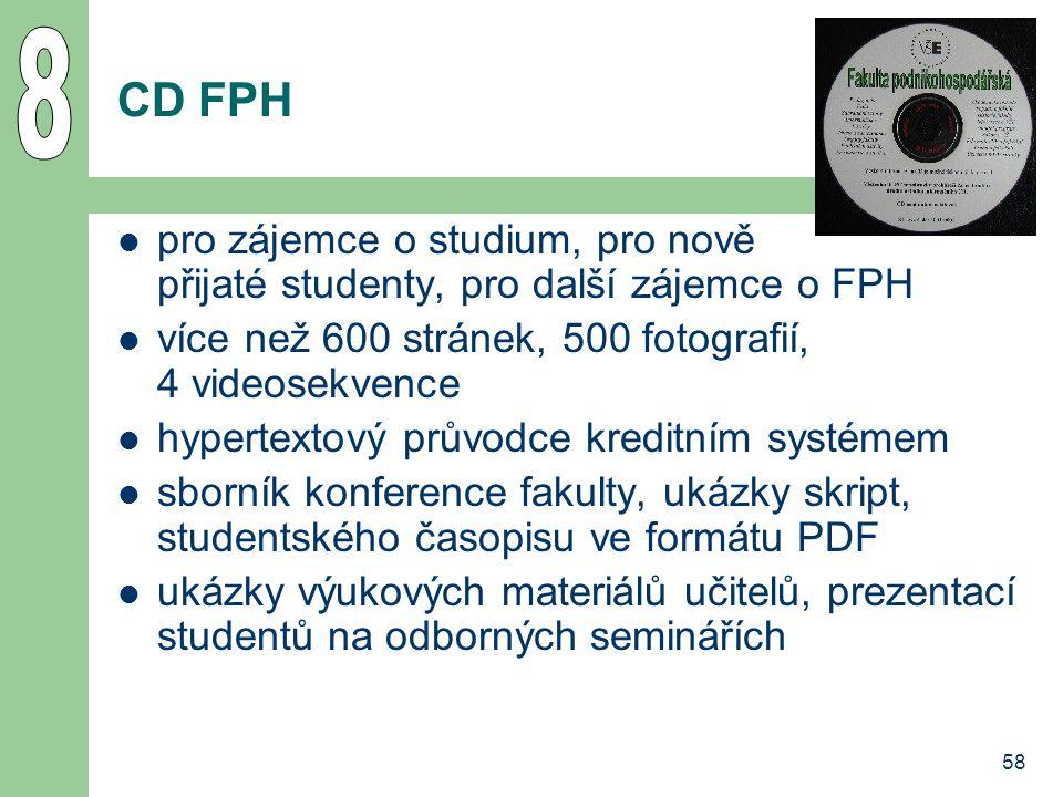 8 CD FPH. pro zájemce o studium, pro nově přijaté studenty, pro další zájemce o FPH. více než 600 stránek, 500 fotografií, 4 videosekvence.
