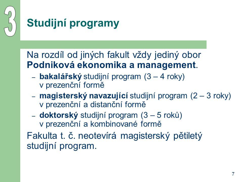 3 Studijní programy. Na rozdíl od jiných fakult vždy jediný obor Podniková ekonomika a management.