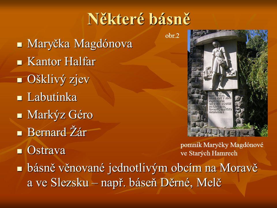 Některé básně Maryčka Magdónova Kantor Halfar Ošklivý zjev Labutinka