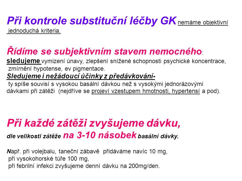Při kontrole substituční léčby GK nemáme objektivní