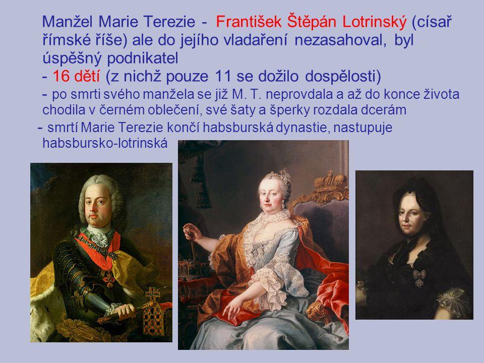 Manžel Marie Terezie - František Štěpán Lotrinský (císař římské říše) ale do jejího vladaření nezasahoval, byl úspěšný podnikatel