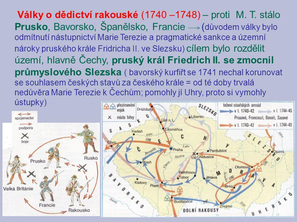 Války o dědictví rakouské (1740 –1748) – proti M. T