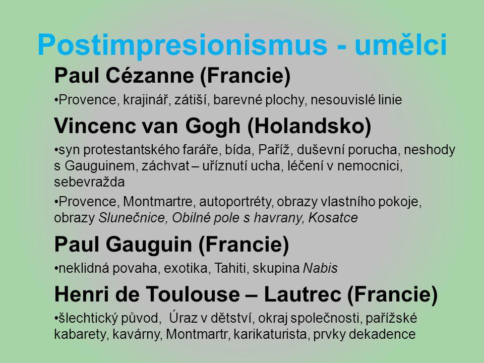 Postimpresionismus - umělci