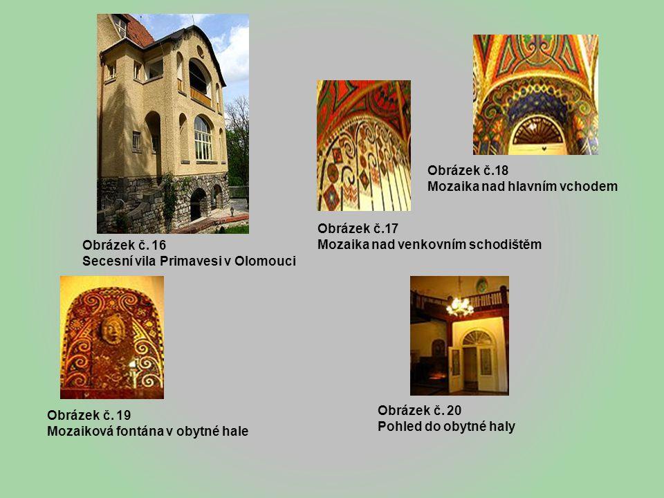 Obrázek č.18 Mozaika nad hlavním vchodem. Obrázek č.17. Mozaika nad venkovním schodištěm. Obrázek č. 16.