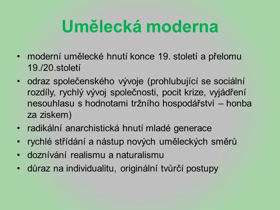 Umělecká moderna moderní umělecké hnutí konce 19. století a přelomu 19./20.století.