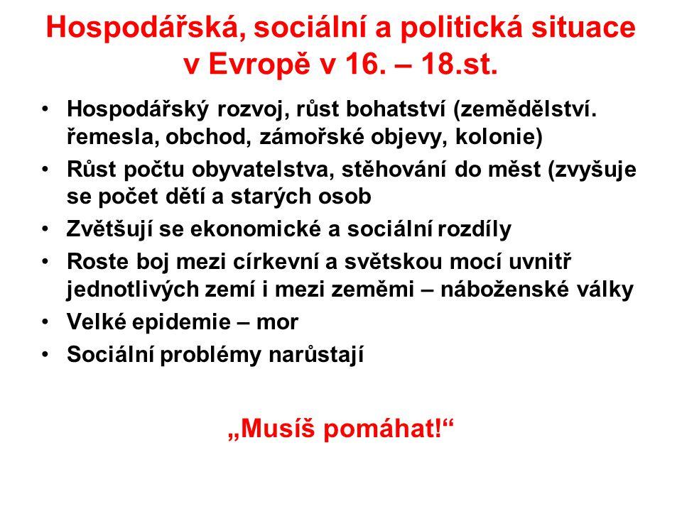 Hospodářská, sociální a politická situace v Evropě v 16. – 18.st.