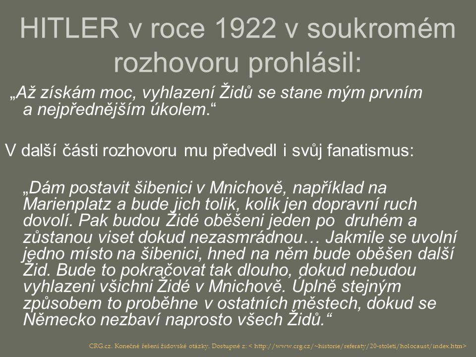 HITLER v roce 1922 v soukromém rozhovoru prohlásil: