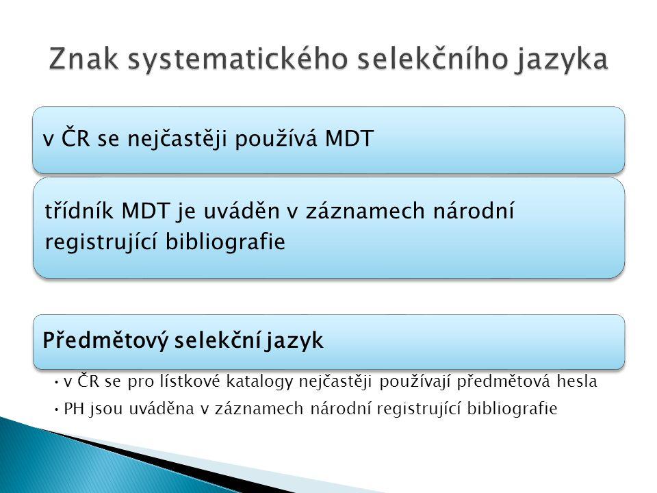 Znak systematického selekčního jazyka