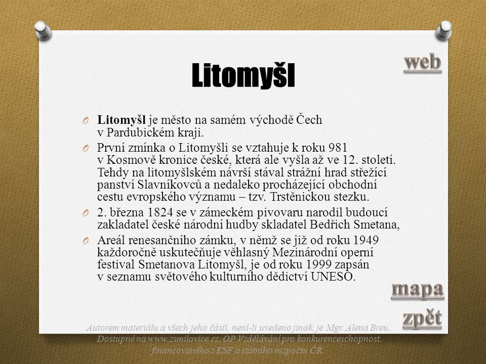 Litomyšl web. Litomyšl je město na samém východě Čech v Pardubickém kraji.