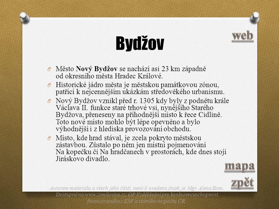 Bydžov web. Město Nový Bydžov se nachází asi 23 km západně od okresního města Hradec Králové.