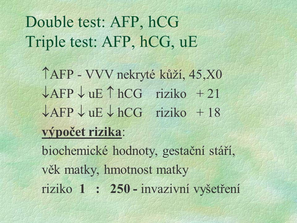 Double test: AFP, hCG Triple test: AFP, hCG, uE