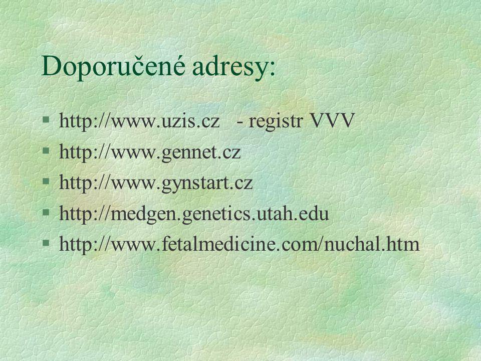 Doporučené adresy: http://www.uzis.cz - registr VVV