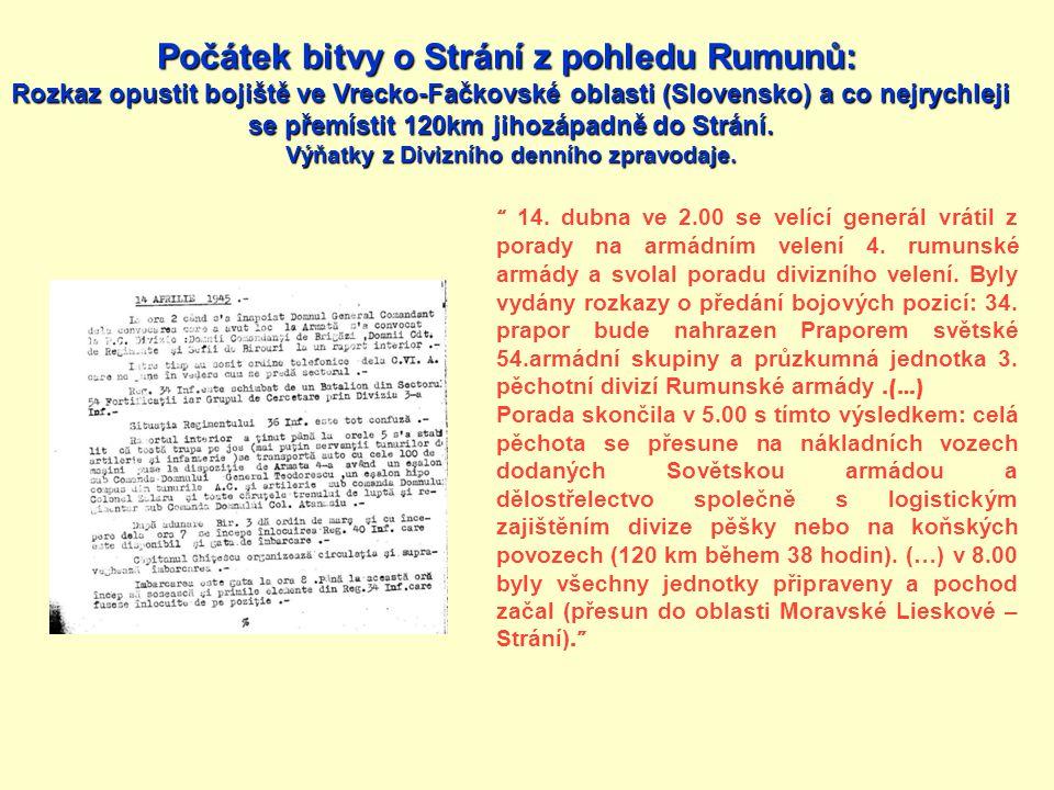 Počátek bitvy o Strání z pohledu Rumunů: