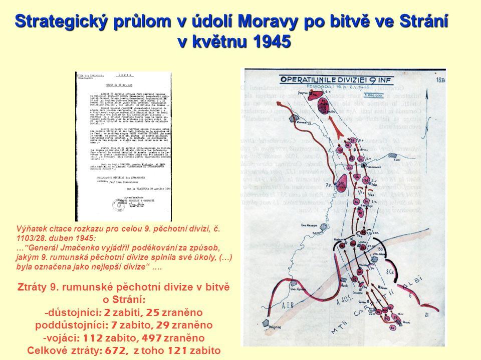 Strategický průlom v údolí Moravy po bitvě ve Strání v květnu 1945