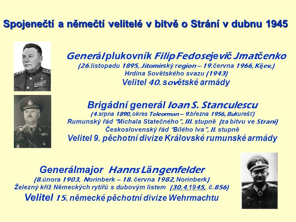 Spojenečtí a němečtí velitelé v bitvě o Strání v dubnu 1945