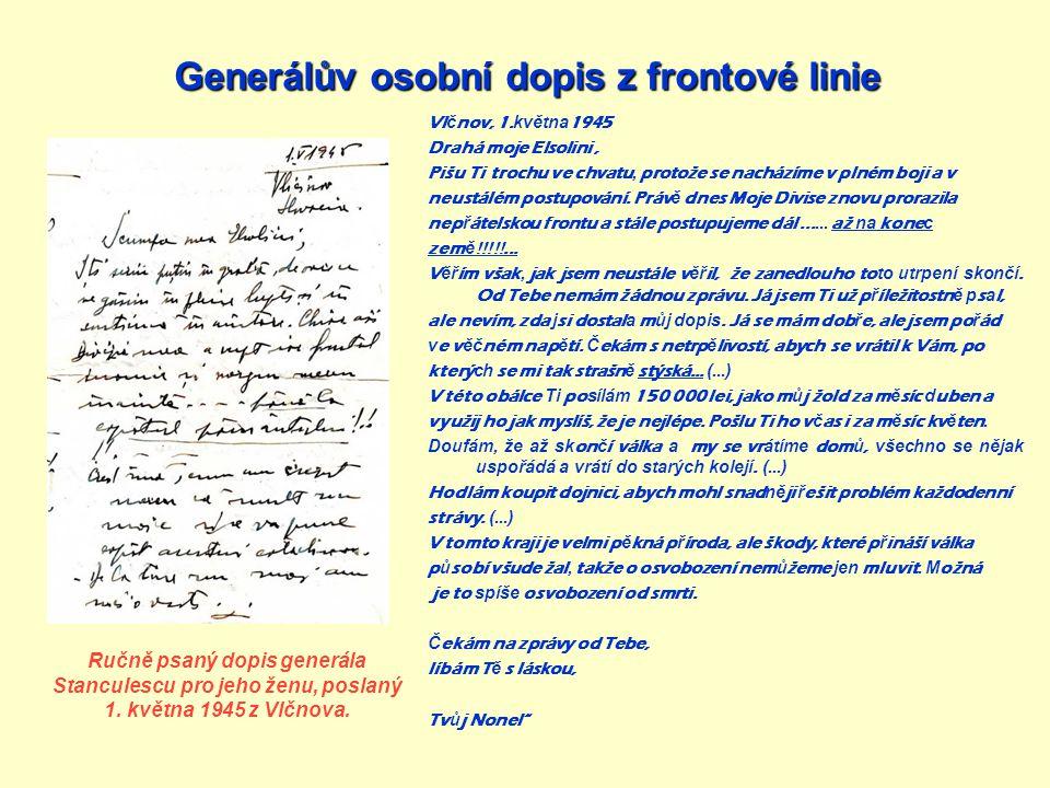 Generálův osobní dopis z frontové linie