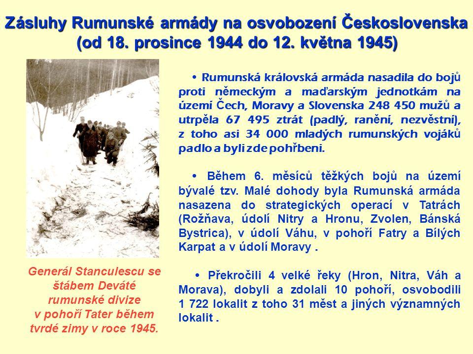 Zásluhy Rumunské armády na osvobození Československa
